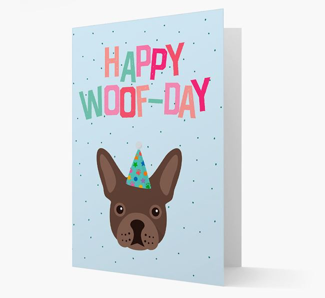 'Happy Woofday' Card with French Bulldog Icon