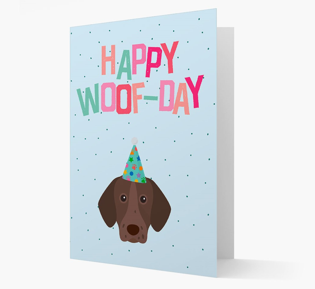 'Happy Woofday' Card with German Shorthaired Pointer Icon