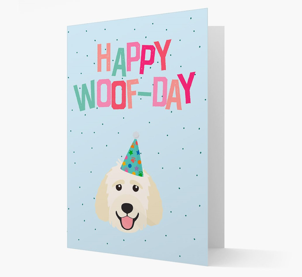 'Happy Woofday' Card with Goldendoodle Icon