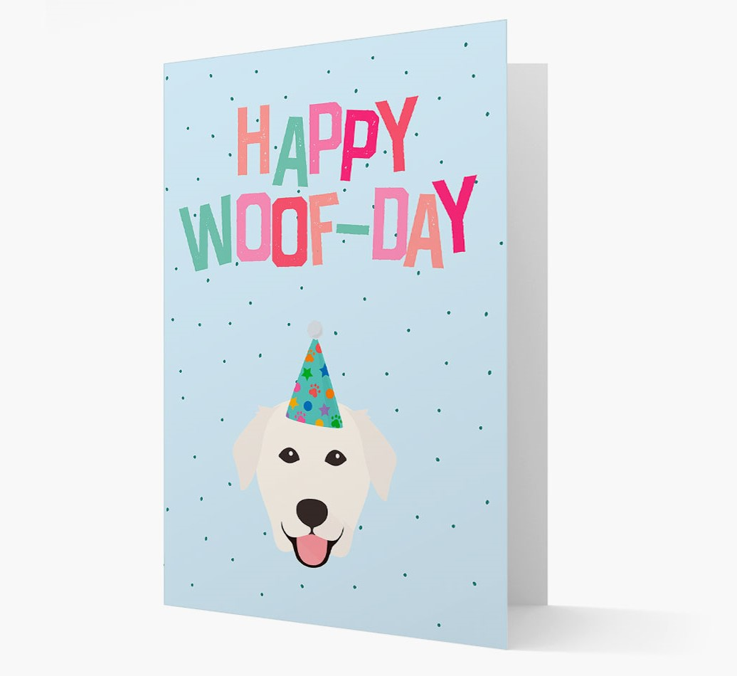 'Happy Woofday' Card with Golden Labrador Icon