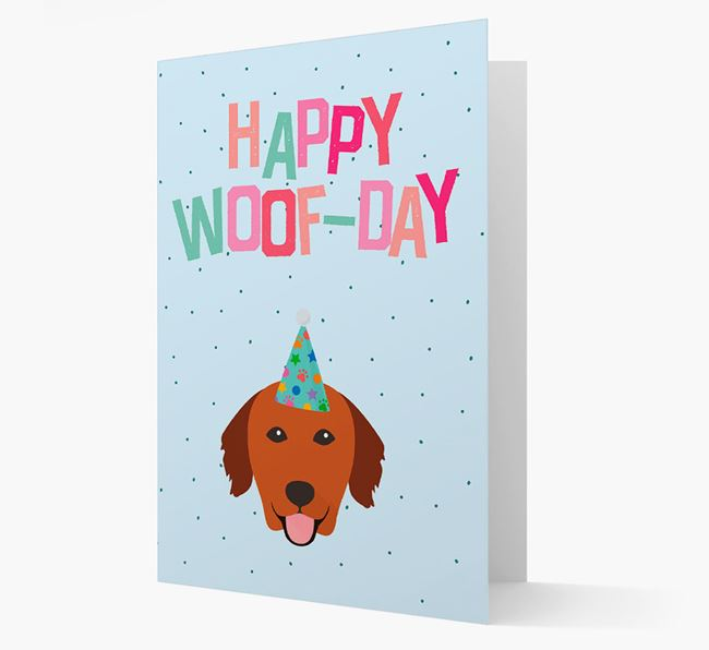 'Happy Woofday' Card with Golden Retriever Icon