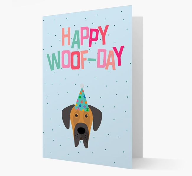 'Happy Woofday' Card with Great Dane Icon