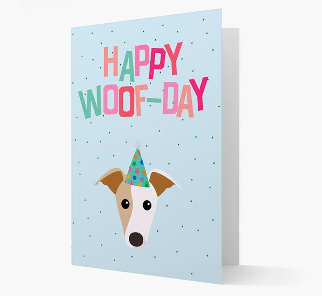 'Happy Woofday' Card with Greyhound Icon