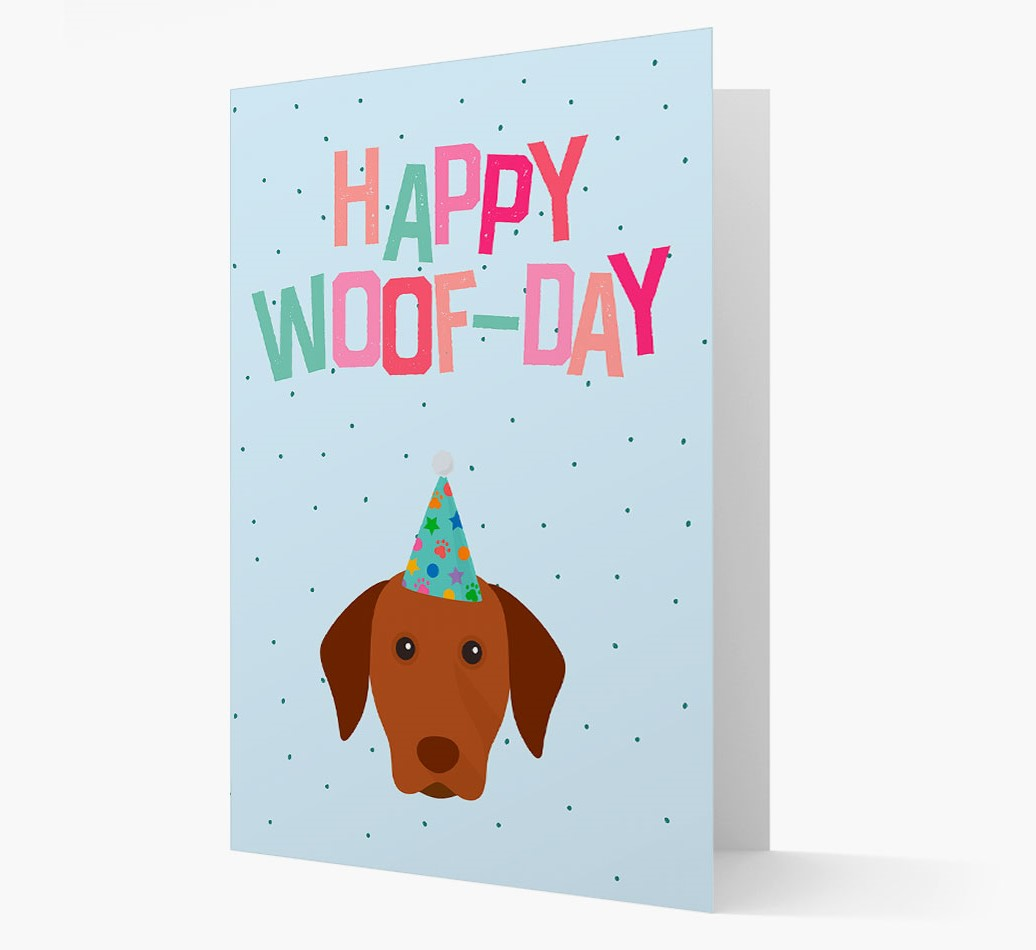 'Happy Woofday' Card with Hungarian Vizsla Icon