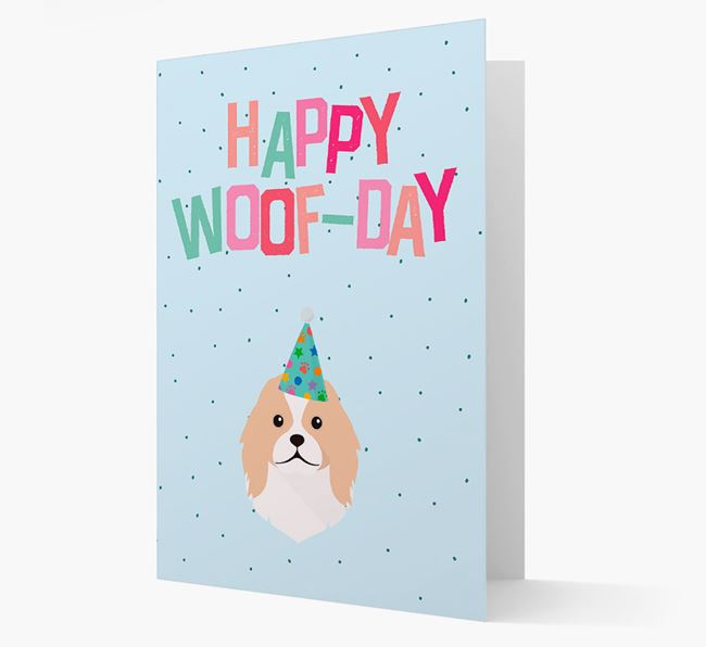 'Happy Woofday' Card with Japanese Chin Icon