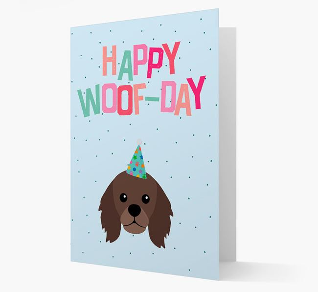 'Happy Woofday' Card with King Charles Spaniel Icon