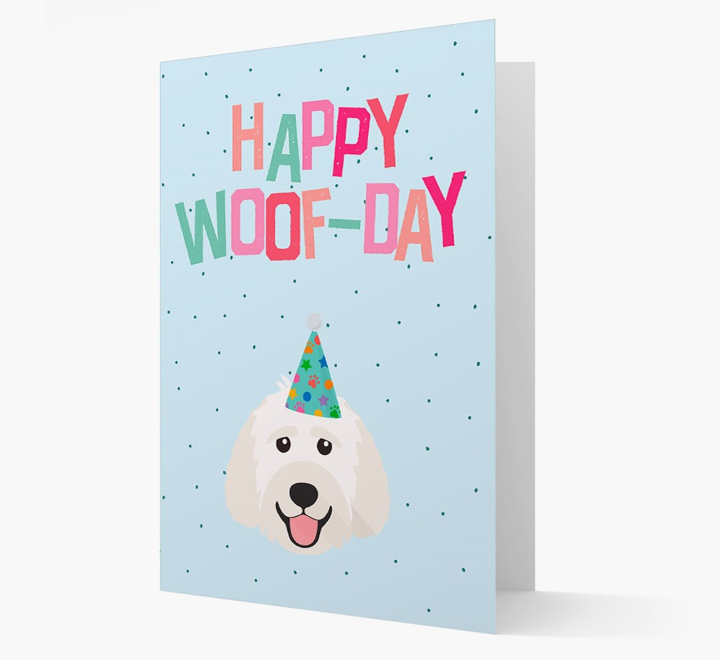 'Happy Woofday' Card with Labradoodle Icon