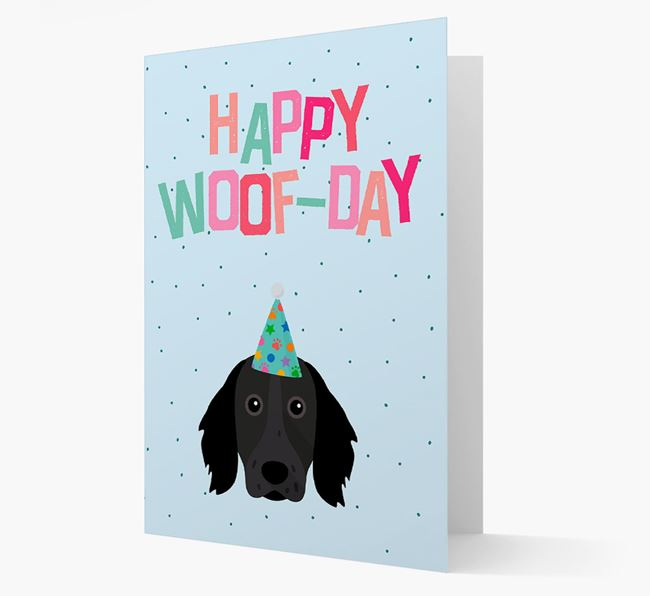 'Happy Woofday' Card with Large Munsterlander Icon