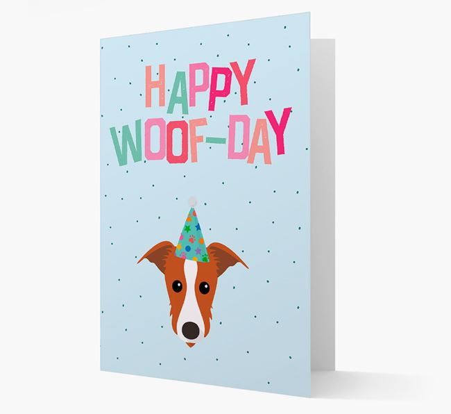 'Happy Woofday' Card with Lurcher Icon