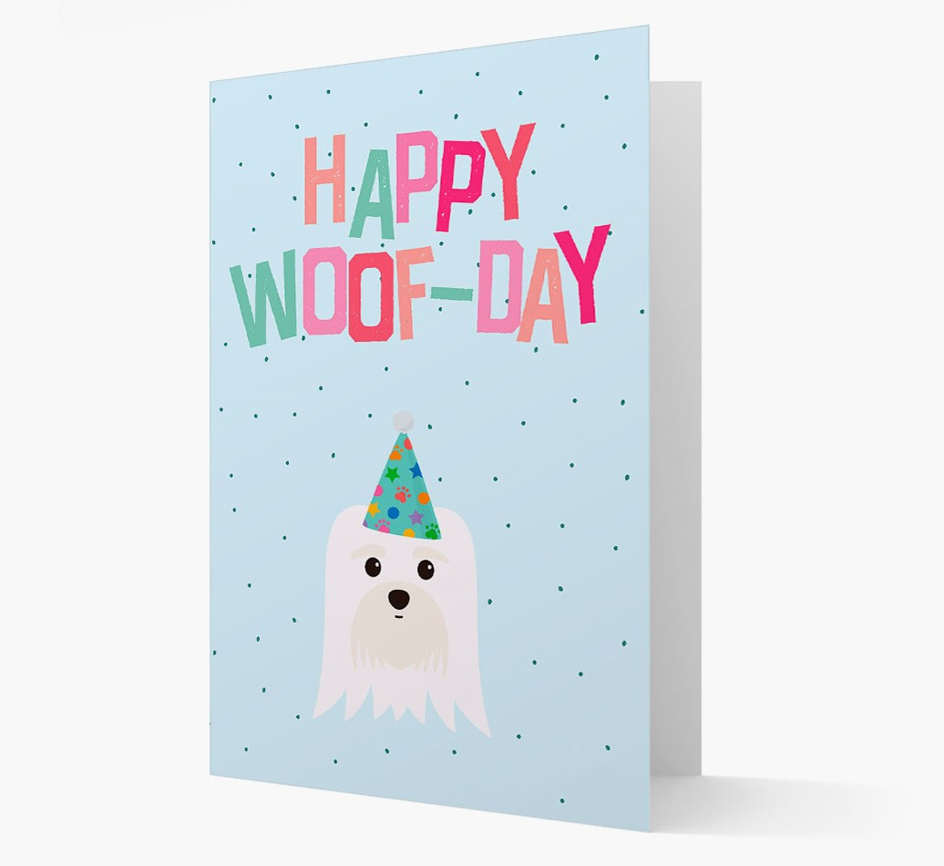 'Happy Woofday' Card with Maltese Icon