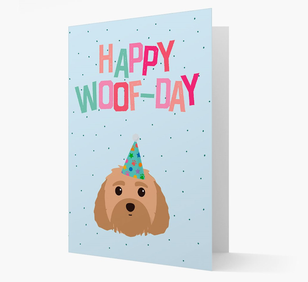 'Happy Woofday' Card with Malti-Poo Icon