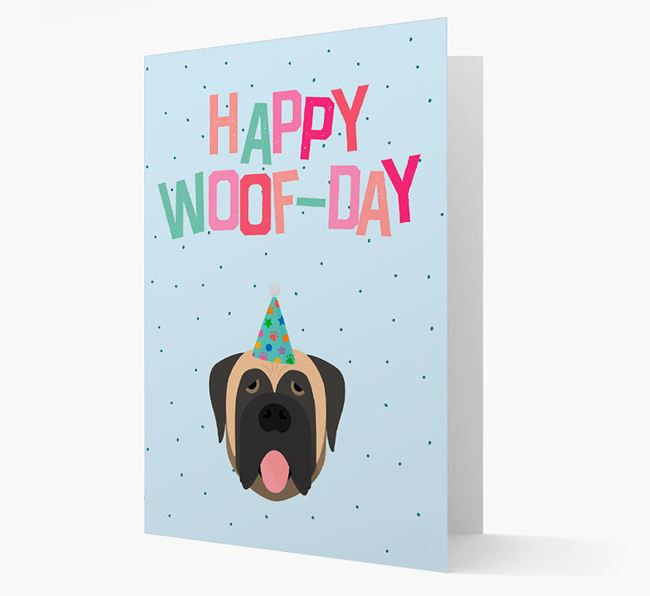 'Happy Woofday' Card with Mastiff Icon