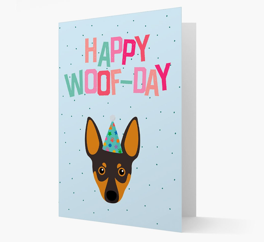'Happy Woofday' Card with Miniature Pinscher Icon