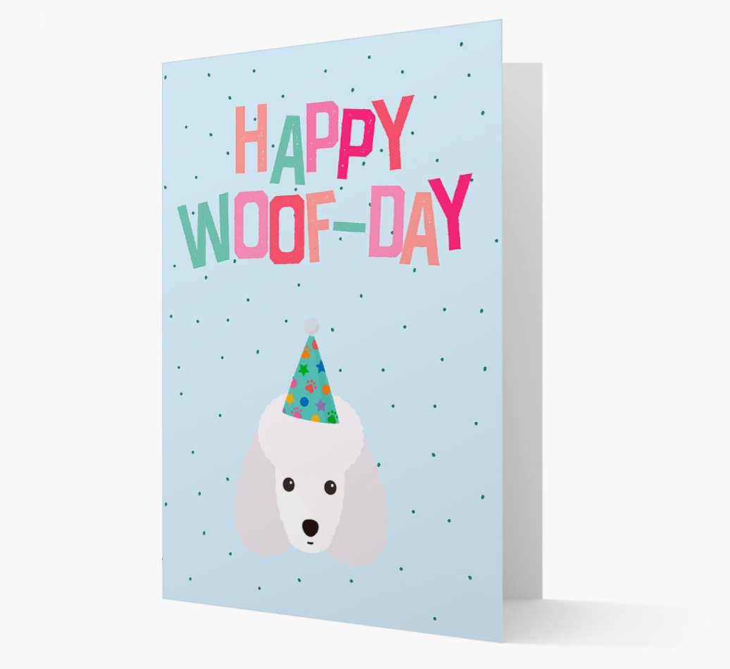 'Happy Woofday' Card with Miniature Poodle Icon