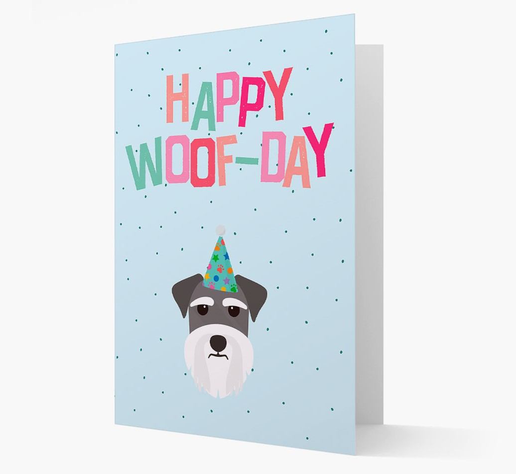 'Happy Woofday' Card with Miniature Schnauzer Icon