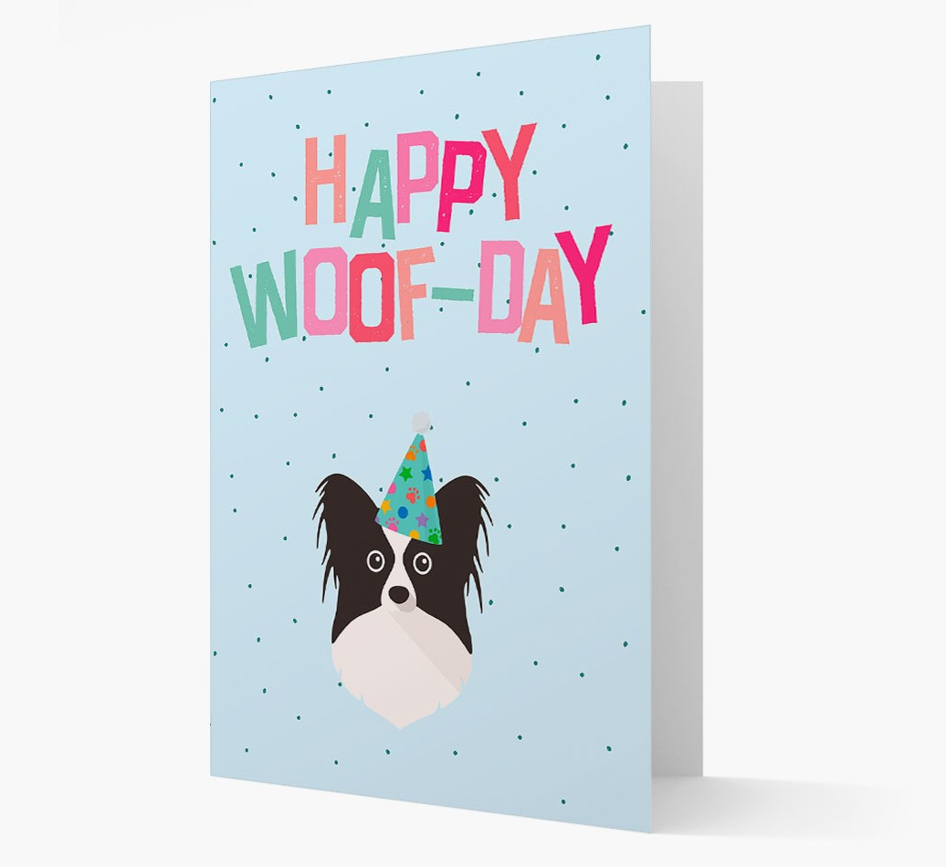 'Happy Woofday' Card with Papillon Icon