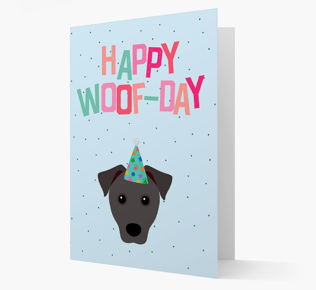 'Happy Woofday' Card with Patterdale Terrier Icon
