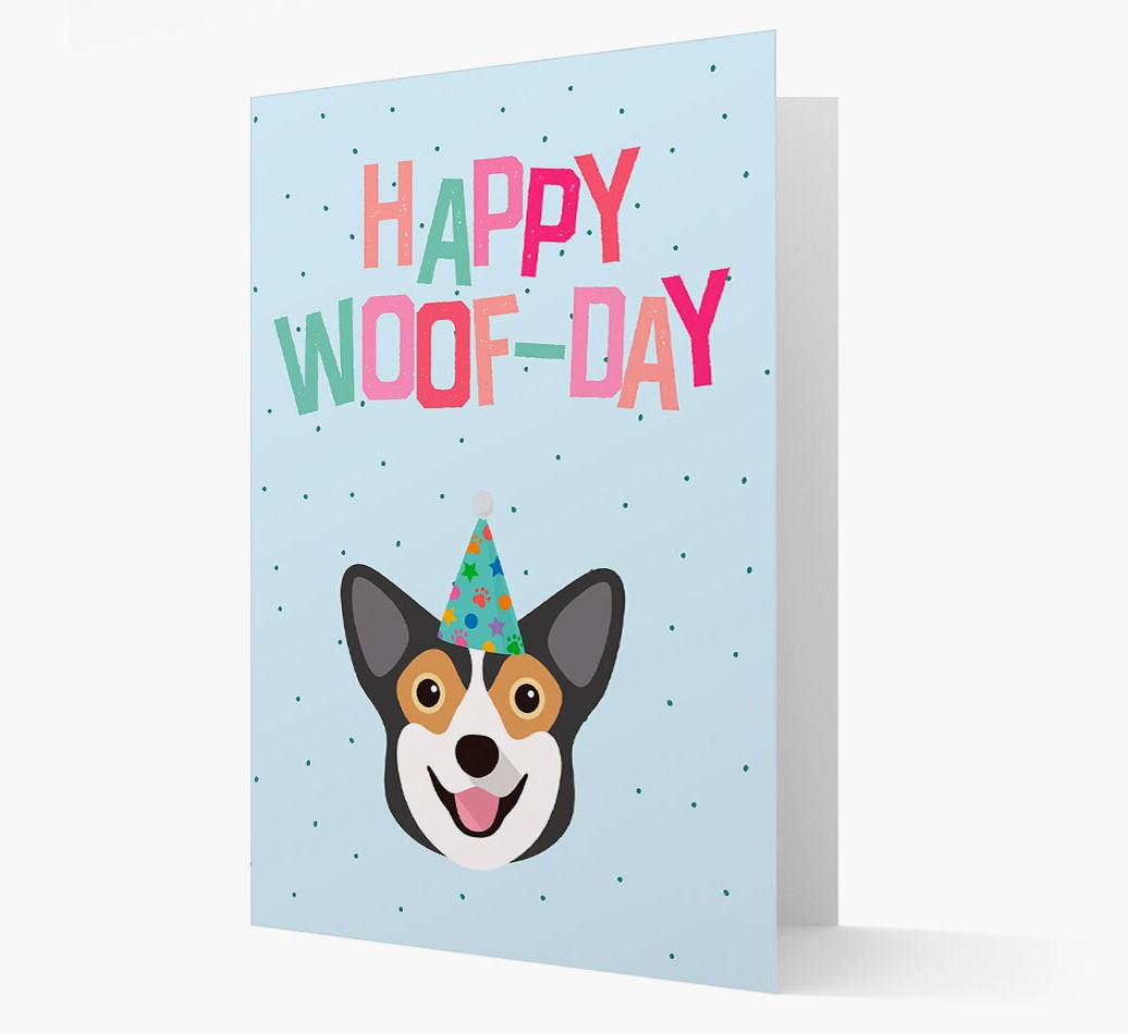 'Happy Woofday' Card with Pembroke Welsh Corgi Icon
