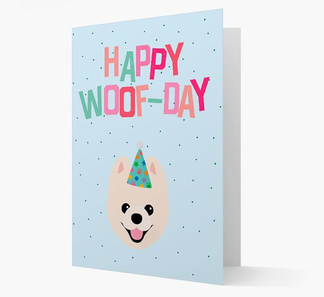 'Happy Woofday' Card with Pomeranian Icon