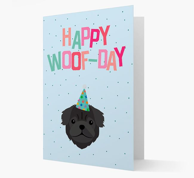 'Happy Woofday' Card with Pug Icon