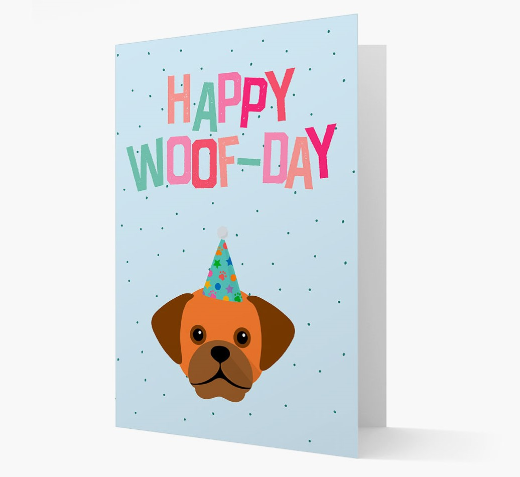 'Happy Woofday' Card with Puggle Icon