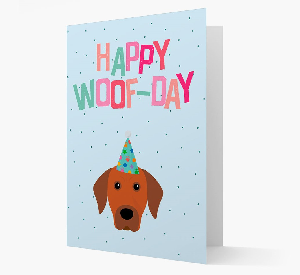 'Happy Woofday' Card with Rhodesian Ridgeback Icon
