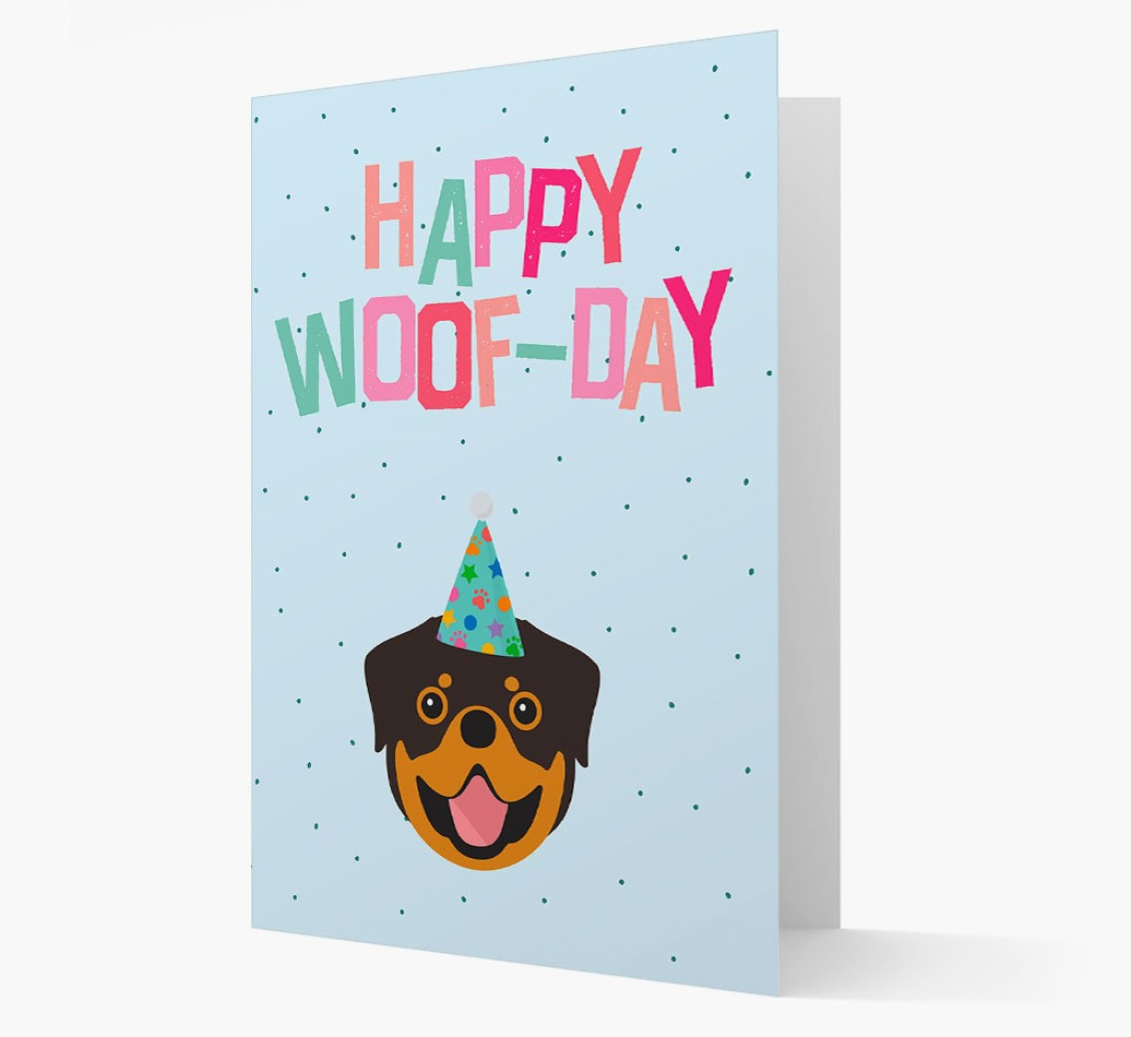 'Happy Woofday' Card with Rottweiler Icon