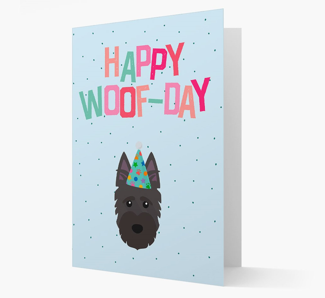 'Happy Woofday' Card with Scottish Terrier Icon