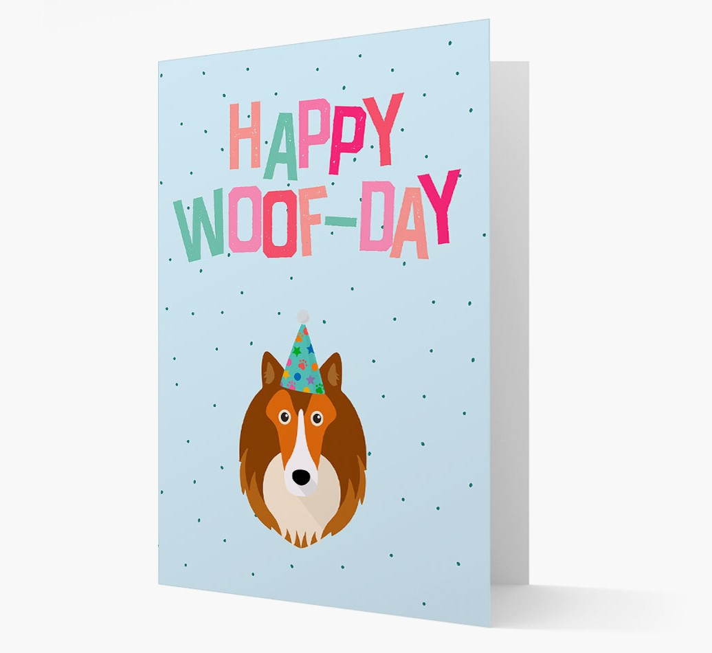 'Happy Woofday' Card with Shetland Sheepdog Icon