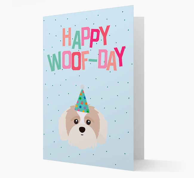 'Happy Woofday' Card with Shih-poo Icon