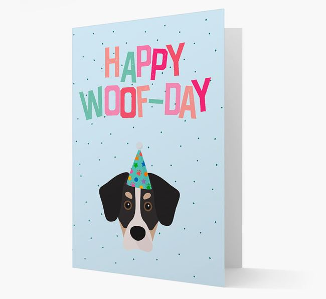 'Happy Woofday' Card with Siberian Cocker Icon