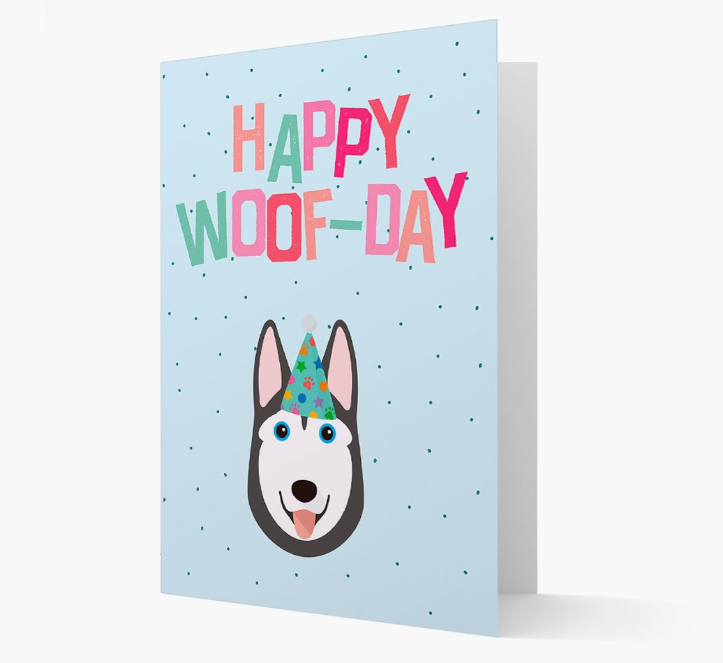 'Happy Woofday' Card with Siberian Husky Icon