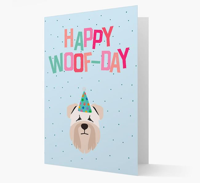 'Happy Woofday' Card with Soft Coated Wheaten Terrier Icon