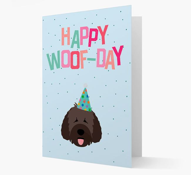 'Happy Woofday' Card with Spanish Water Dog Icon