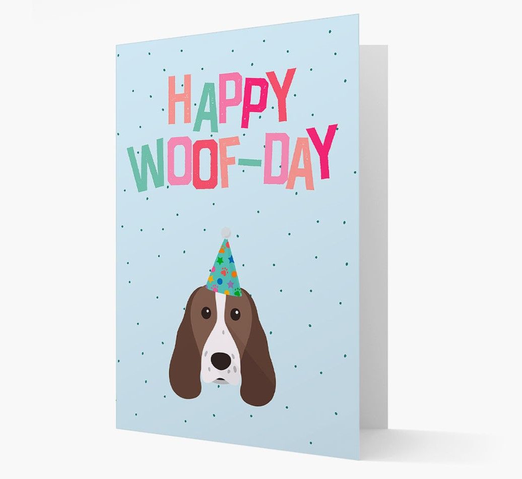'Happy Woofday' Card with Springer Spaniel Icon