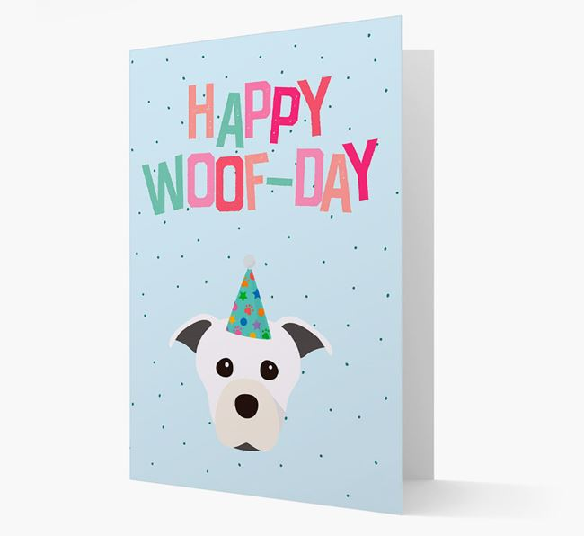 'Happy Woofday' Card with Staffordshire Bull Terrier Icon