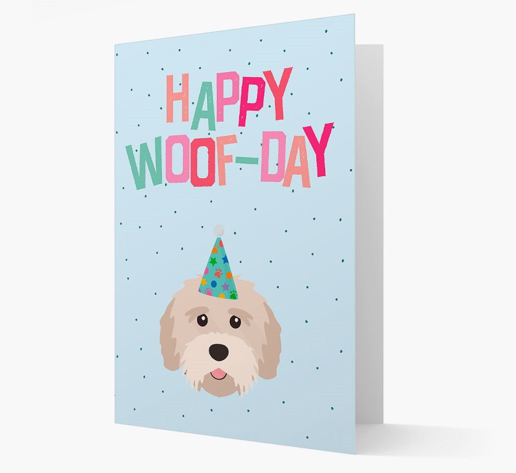 'Happy Woofday' Card with Tibetan Terrier Icon