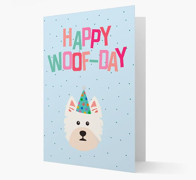 'Happy Woofday' Card with West Highland White Terrier Icon
