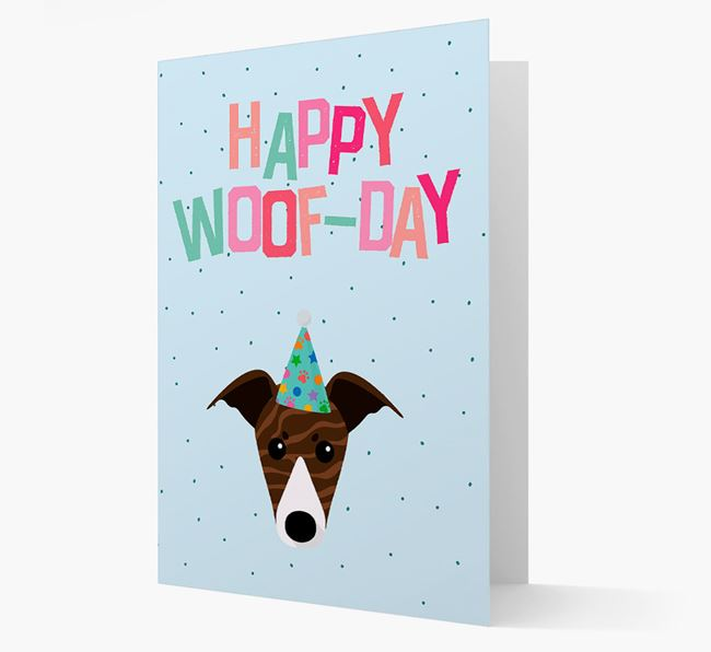 'Happy Woofday' Card with Whippet Icon