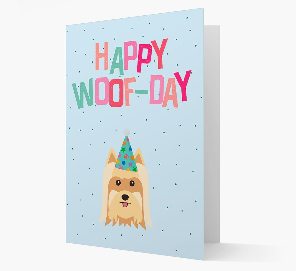 'Happy Woofday' Card with Yorkshire Terrier Icon
