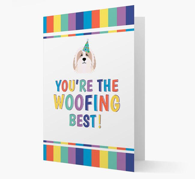 'You're the Woofing Best' Card with Bearded Collie Icon