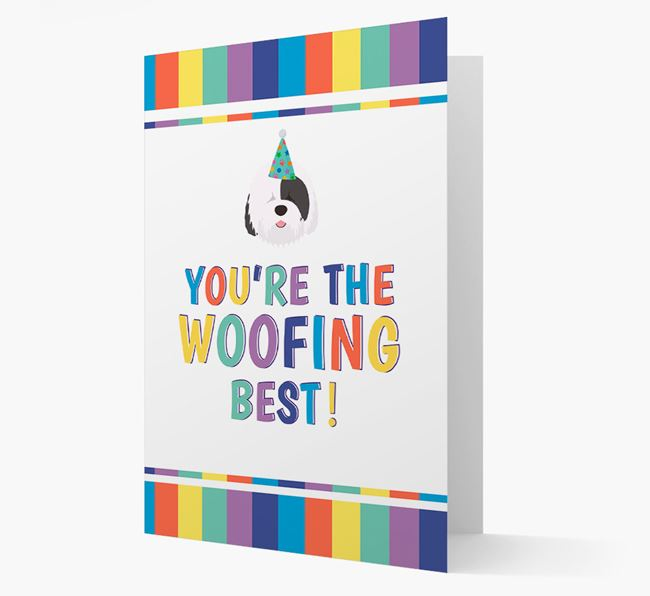 'You're the Woofing Best' Card with Old English Sheepdog Icon