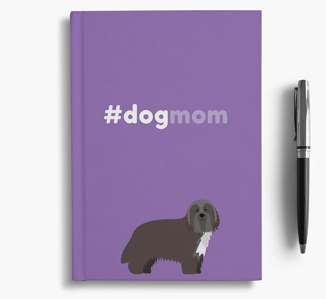 #Dogmom Notebook with Bearded Collie Icon