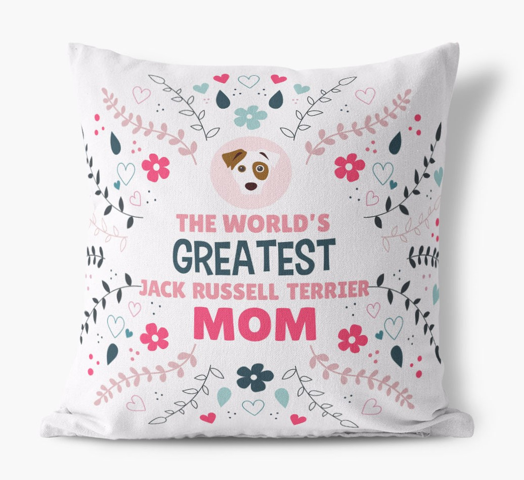 'World's Greatest Dog Mom' Pillow front view