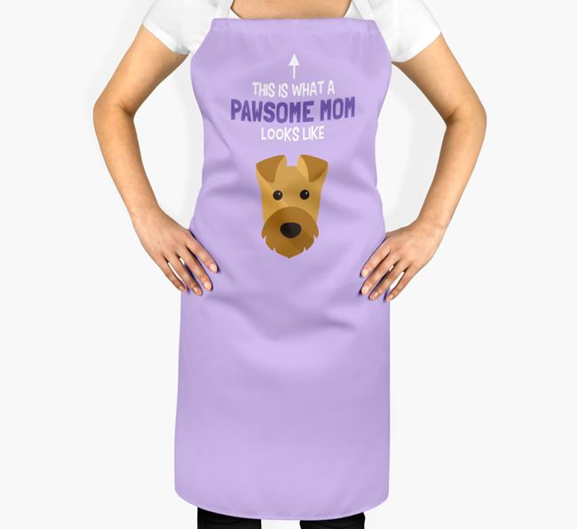 'Pawsome Mom' Apron with Airedale Terrier Icon