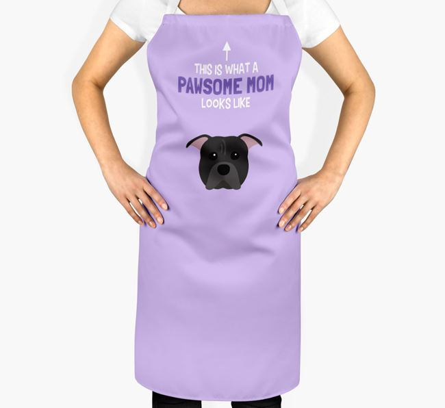 'Pawsome Mom' Apron with American Pit Bull Terrier Icon