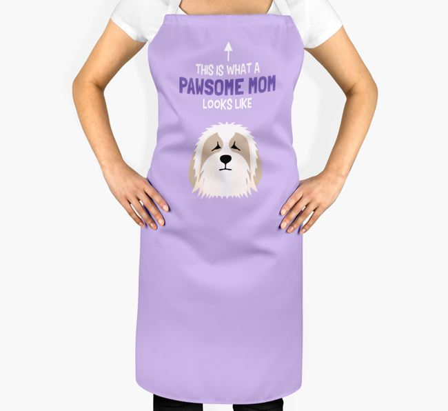 'Pawsome Mom' Apron with Bearded Collie Icon