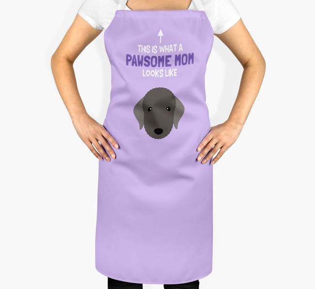 'Pawsome Mom' Apron with Bedlington Terrier Icon