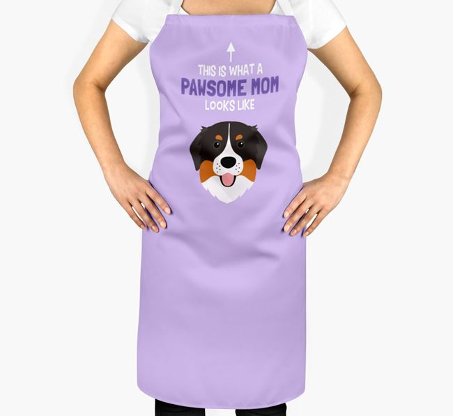 'Pawsome Mom' Apron with Bernese Mountain Dog Icon