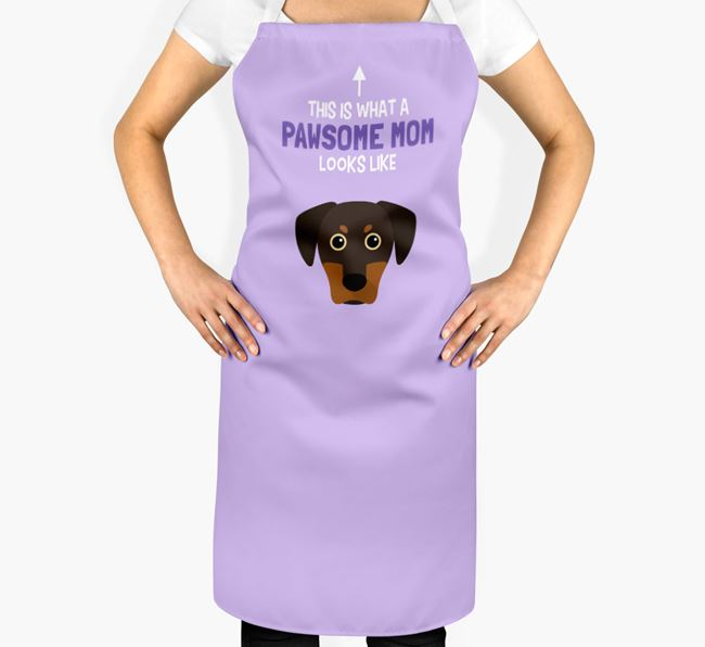 'Pawsome Mom' Apron with Blue Lacy Icon